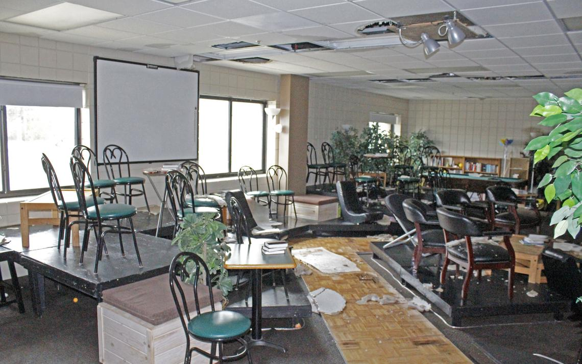 The youth activity room at Faithbridge Church suffered extensive damage, including a ceiling collapse and flooding, after a tornado tore off the roof overhead in Saturday night's storm. Robin Fish / Park Rapids Enterprise, Sunday, Oct. 10, 2021