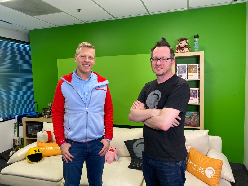 Frederic Descamps (left) and Jordan Maynard are cofounders of Manticore Games.