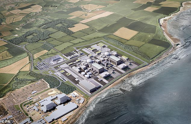 Nuclear plant: An artist's impression of the how the new Hinkley Point C power station - which is due to come online in 2026 - will look