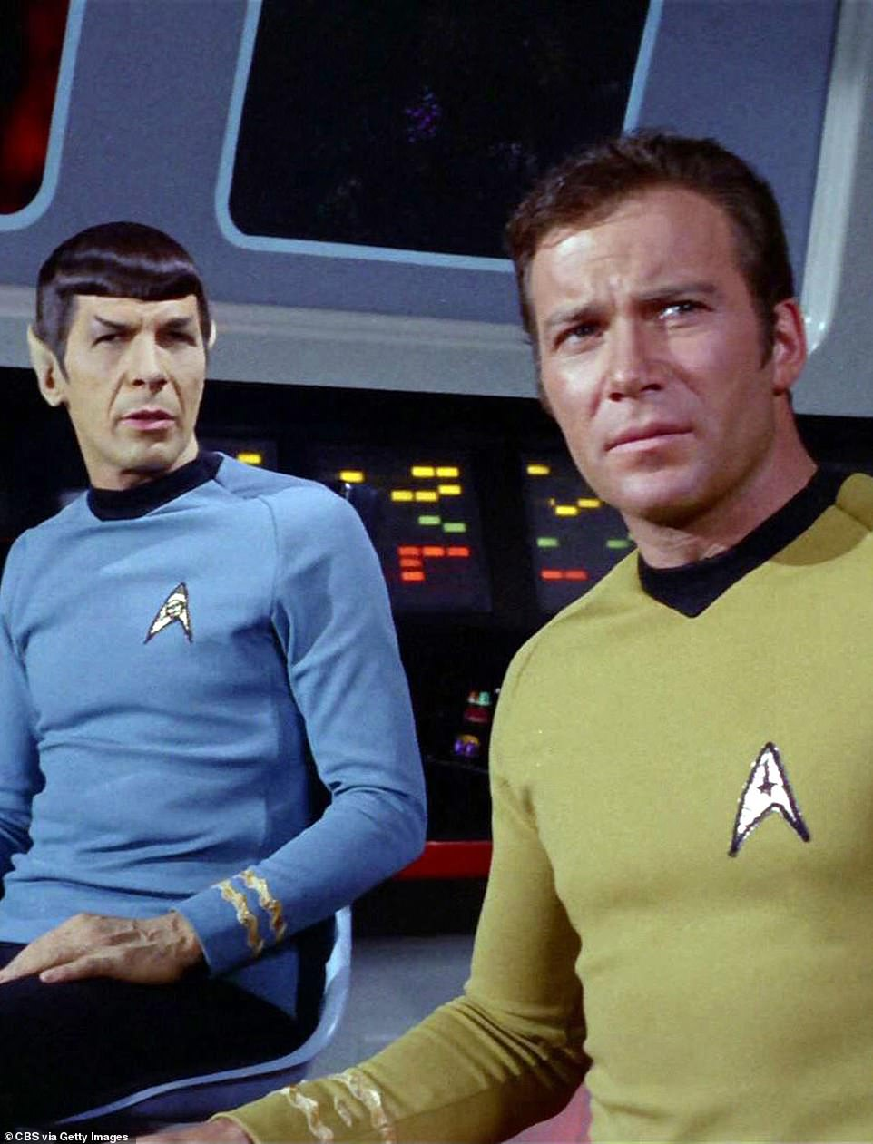 Shatner shot to fame when he took on the role of James T Kirk in the original Star Trek series in 1966. Left is Shatner, along withLeonard Nimoy as Mr Spock