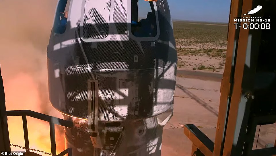 Blue Origin's rocket took off just after 10:45am ET from the company's Launch Site One facility in Van Horn, Texas