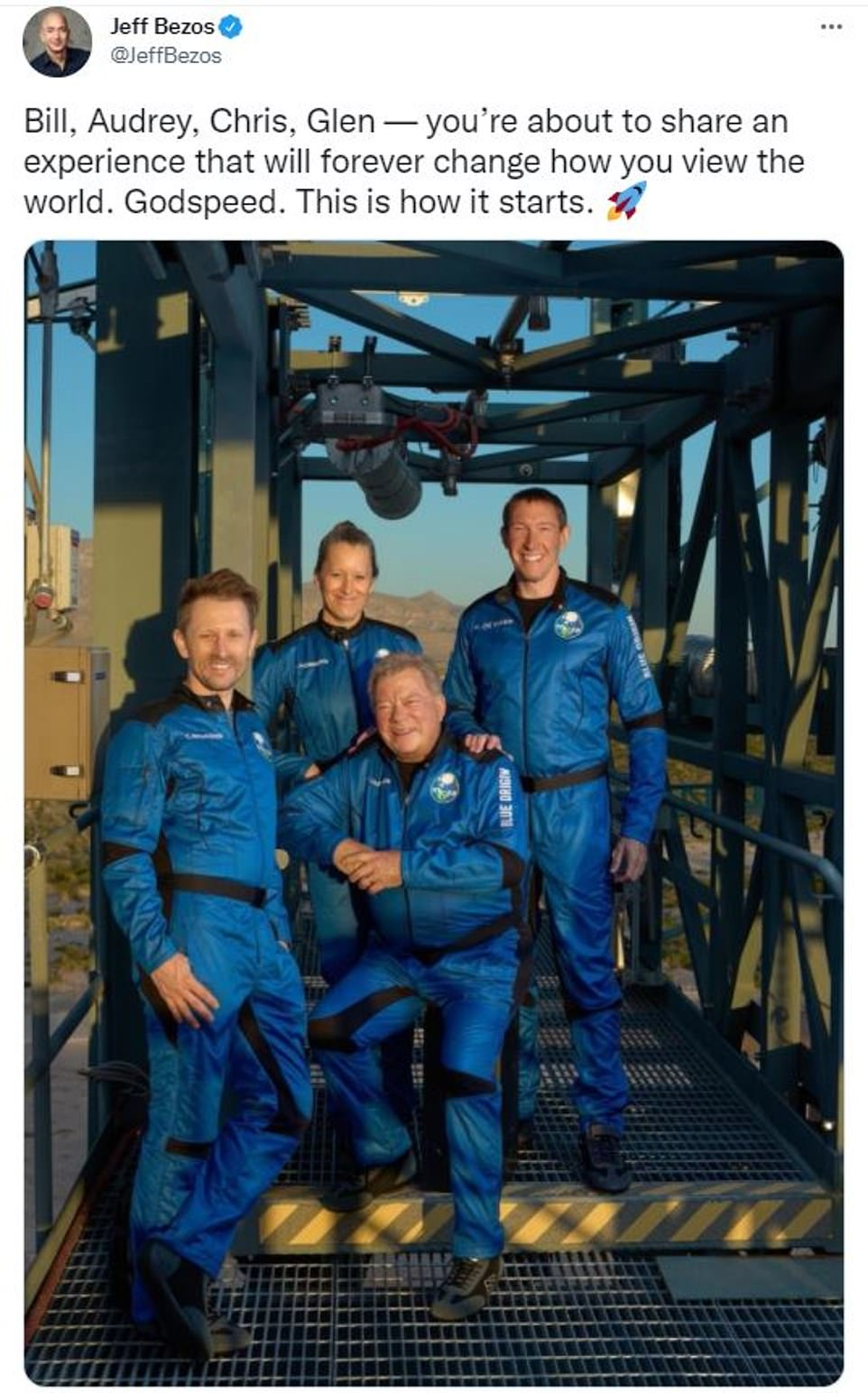 The crew, which also includes Chris Boshuizen, Glen de Vries and Audrey Powers, are launching aboard Blue Origin¿s 60-foot-tall New Shepard rocket at 10am ET from the company's Launch Site One in Van Horn, Texas