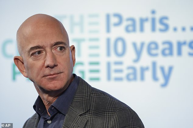 Amazon boss Jeff Bezos (pictured)started the $1 trillion internet titan just two decades ago from his garage in Seattle