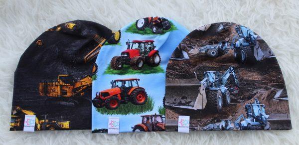 mössa barn bilar gruva traktorer maskiner arbetsfordon fordon