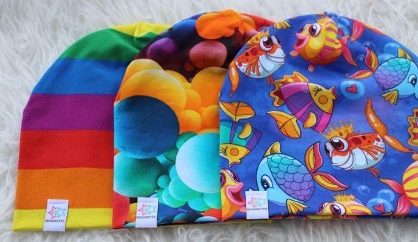 mössor barn vuxen regnbåge ballonger bollar fiskar