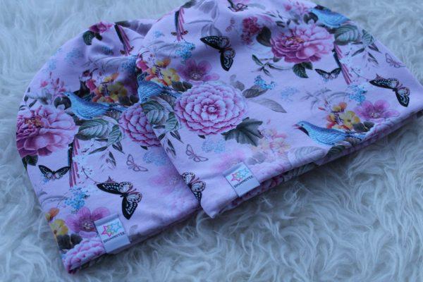 Mössa pannband med pioner blommor rosa