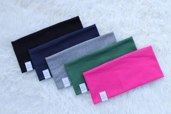 Pannband enfärgade svart marin grån grön turkos rosa