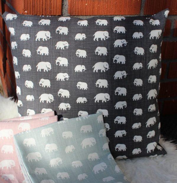 svenskttenn kudde kuddfodral elefanter grå rösa turkos