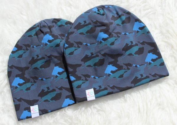 Kamouflage blå mössa mössor barn vuxen