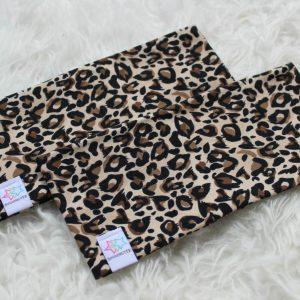 pannband med foder pannband för barn & vuxen leopardmönster brun