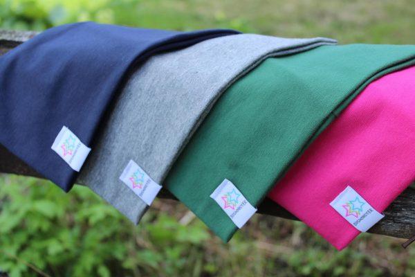Pannband svart marin grå grön rosa enfärgade