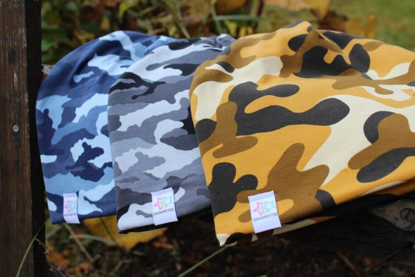 Mössa kamouflage gul grå blå