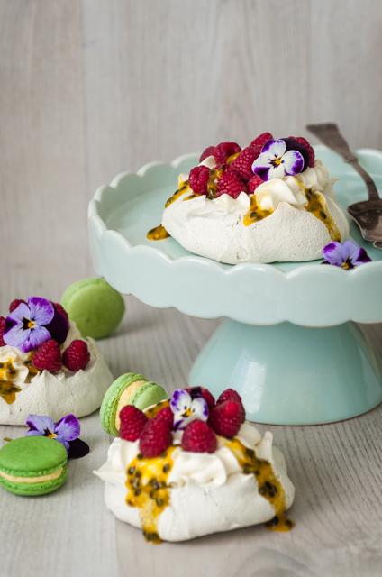 Licorice Pavlova with Passionfruit & Raspberries