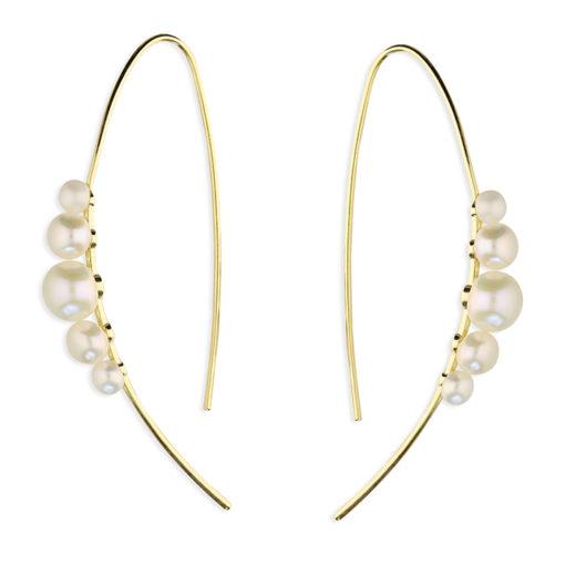 Smykker - Forgyldte sølv øreringe med hvide fem hvide perler