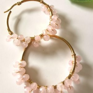 Krystal øreringe med rosenkvarts