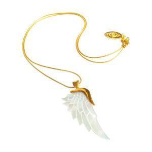 Guld halskæder med perlemor englevedhæng
