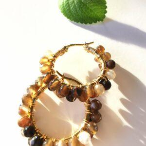 Krystal øreringe med Agat