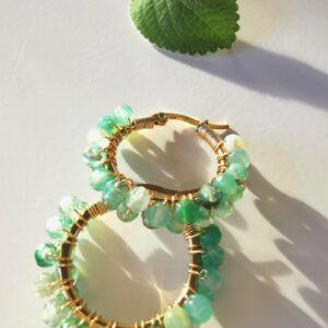 Grøn Agat hoops øreringe