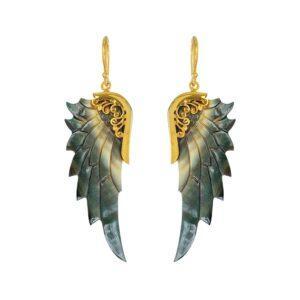 Guld engleøreringe med mørk abeloneskal