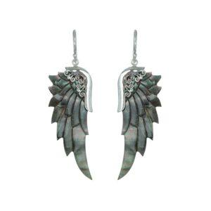 Mørke englevinger øreringe i abeloneskal med sølvdetaljer