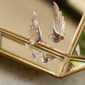 Abeloneskal og Sterling sølv Angel Wings