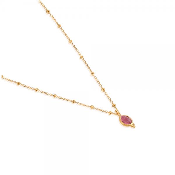 22 karat guldbelagt halskæde med pink Turmalin - Ananda Soul smykker hos byTrampenau