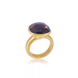 22 karat guldbelagt krystalring med Røgkvarts som beskytter mod uønskede energier.