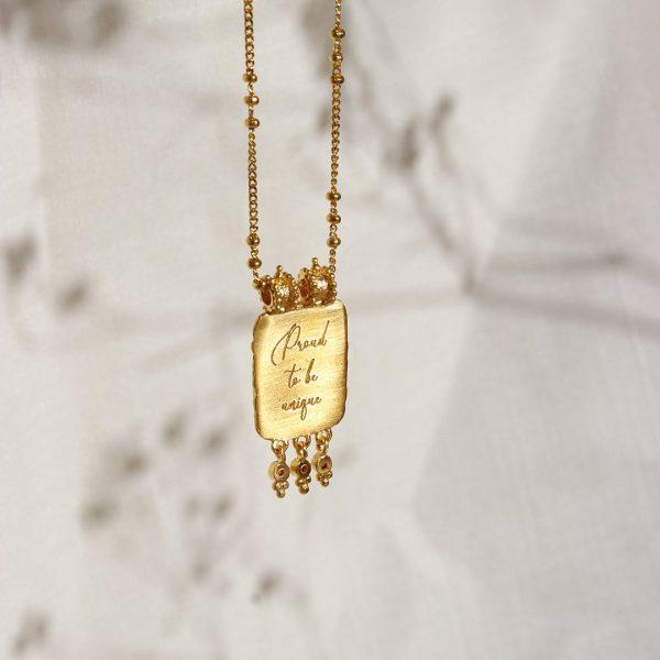 Ananda Soul guldhalskæde med krystaller hos byTrampenau