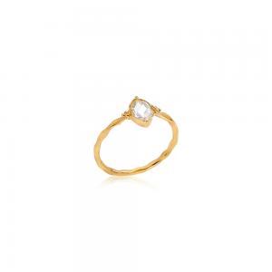Krystal ring med Herkimer diamant