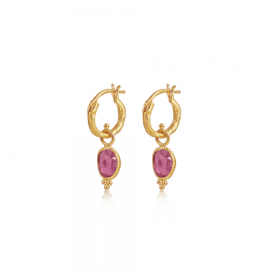 Guld hoop øreringe med pink turmalin