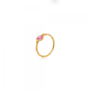 Gentle Heart krystalring med pink Turmalin