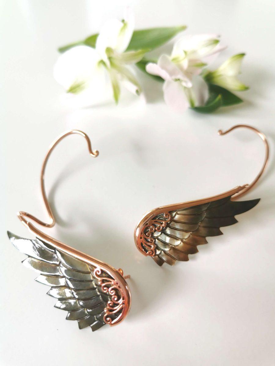 Englevinge øreringe - Black Rose Earwings fra Lalimalu