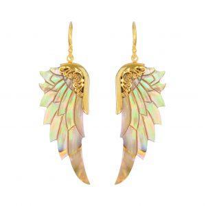 Smykker med mening - englevinge øreringe i Abelone skal og guld