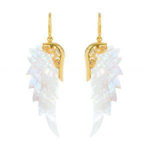Englevinge øreringe i Abelone skal og guld