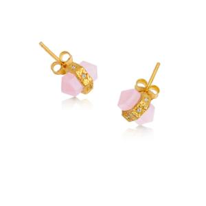 Rosenkvarts guld øreringe fra Ananda Soul