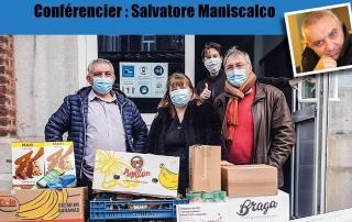 """Visioconférence """"Caddies solidaires"""" par M. Salvatore Maniscalco. Une organisation de la Maison de la Laïcité Ourthe et Aisne."""