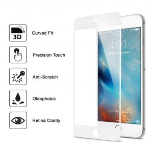 Apple iphone 8 Full 3D 100% Genuine Tempered Glass Screen Protector-White