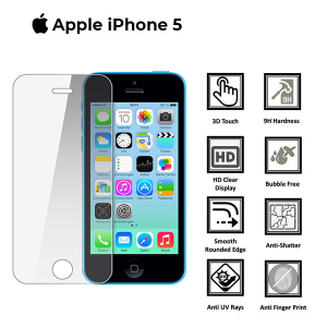 Apple iphone 5c-5S-5SE 100% Genuine Tempered Glass Screen Protector-clear
