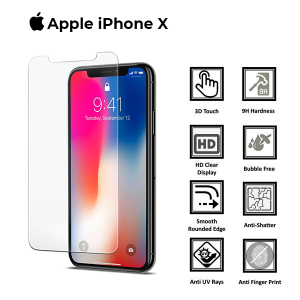 Apple iphone X Full 3D 100% Genuine Tempered Glass Screen Protector-White