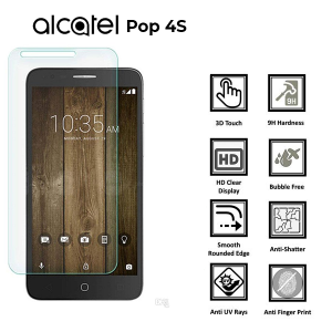"ALCATEL POP4 S"" 100% Tempered Glass Screen Protector-Clear"
