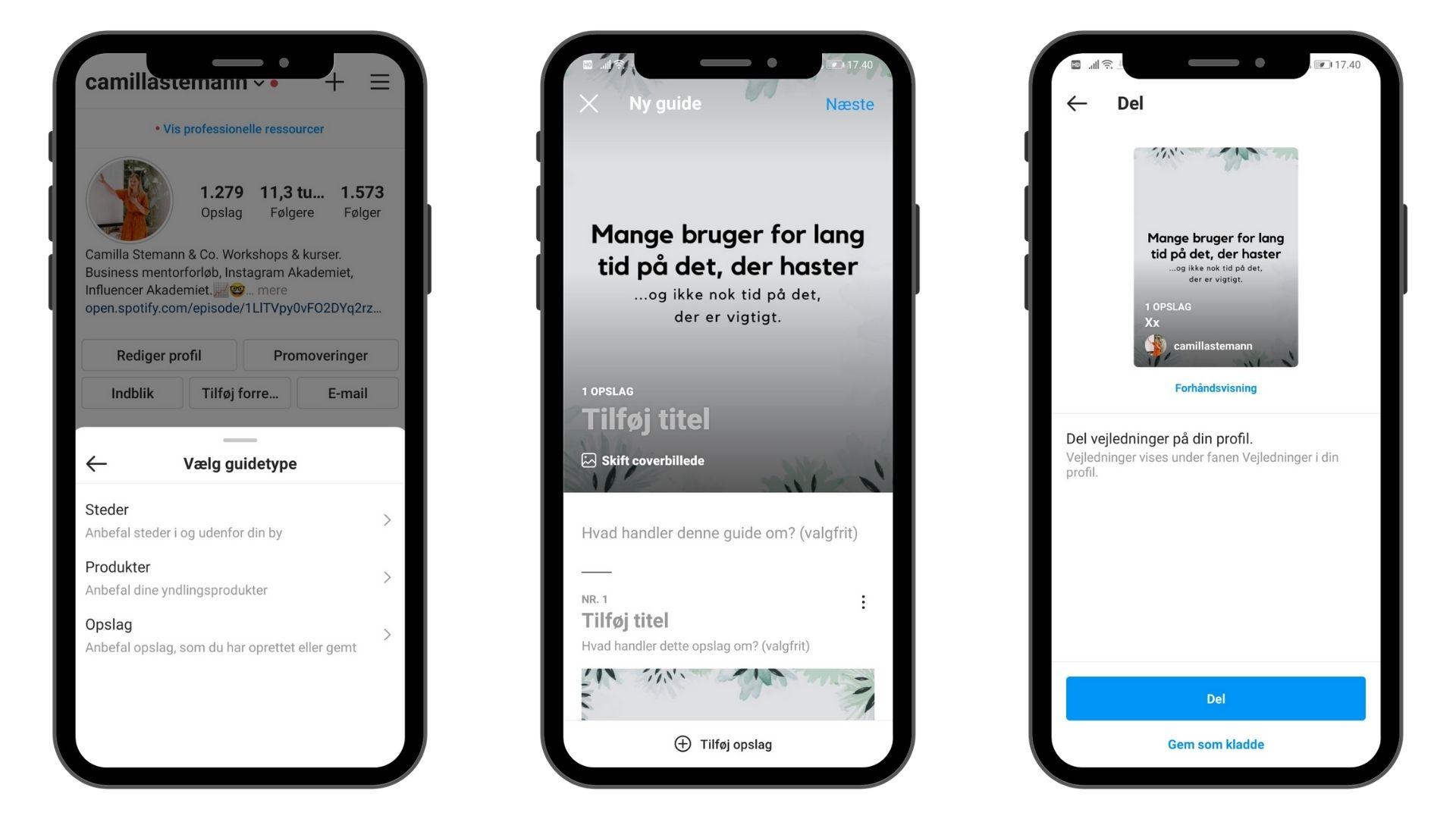 nyheder og trends på instagram i 2021: Instagram guides: Guide på Instagram, Instagram som miniblog. Lang eller kort tekst på Instagran?