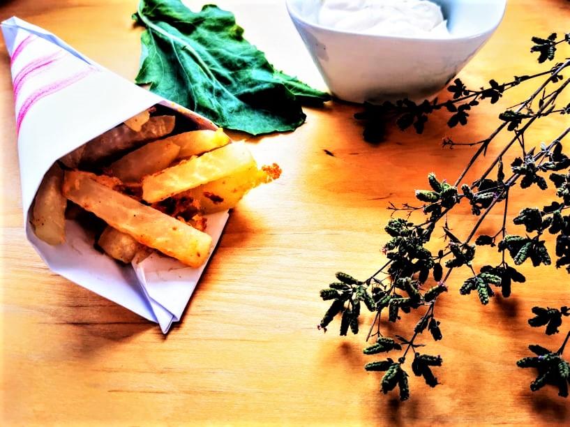 Kohlrabi-Pommes, Kohlrabipommes, Pommes Frites, French Fries, vegan, Rezept