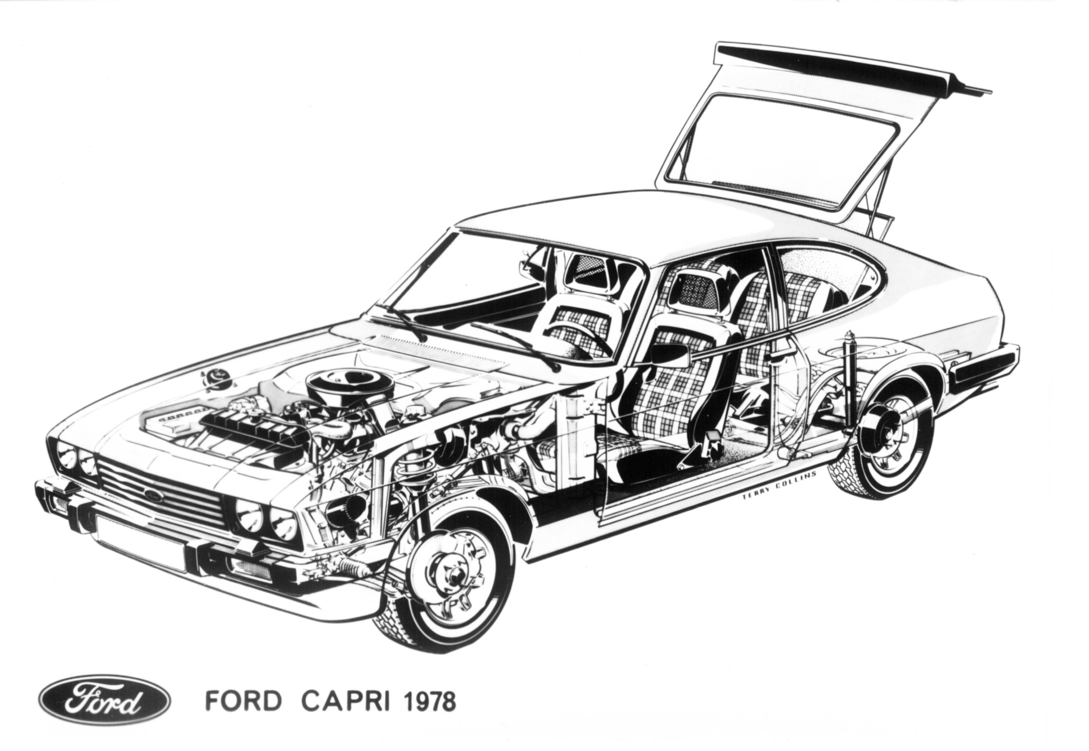 Postkort-FORD-CAPRI-1978-cutaway-1