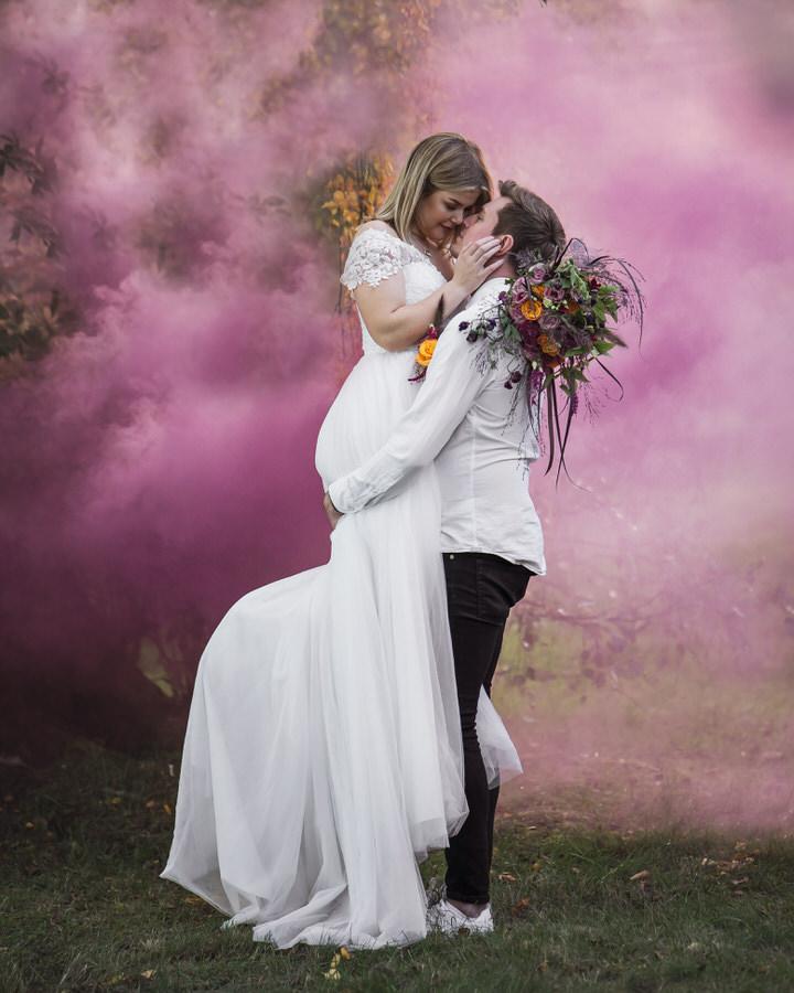 bröllop och rökbomber