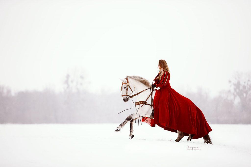 Prinzessin mit Schimmel im Schnee