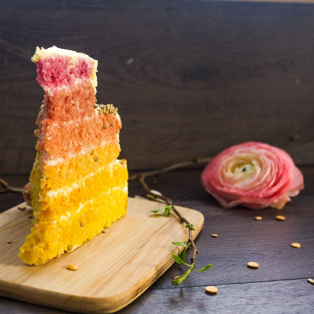 Coconut ombre layer cake