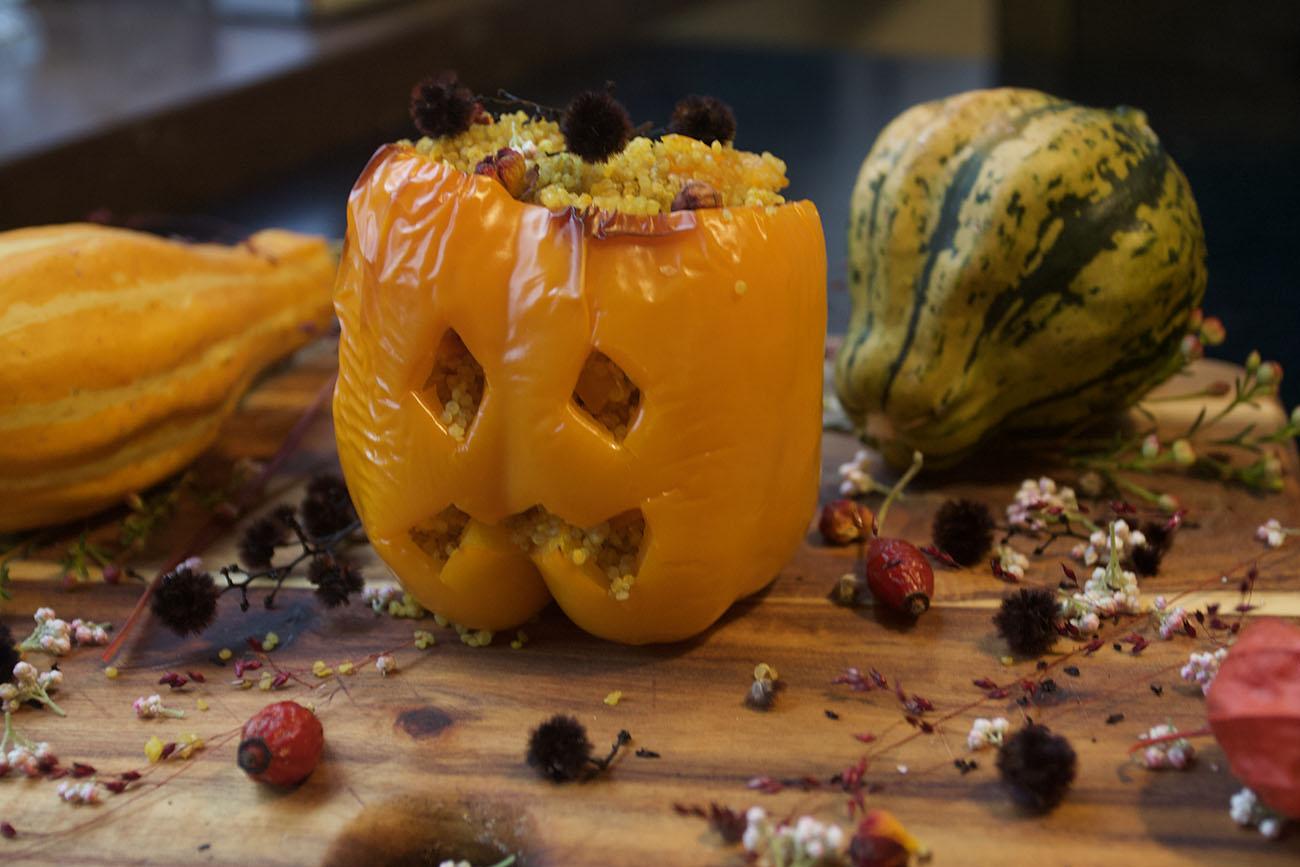 Jack O'Lantern stuffed peppers