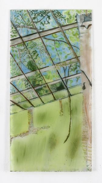 Carralero-Bierzynska-Heilstätte-Grabowsee-I-2021-Öl-und-Pigmenten-hinter-Glas-125-x-625-cm