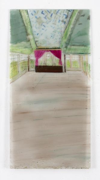 Carralero-Bierzynska-Heilstätte-Grabowsee-III-2021-Öl-und-Pigmenten-hinter-Glas-125-x-625-cm