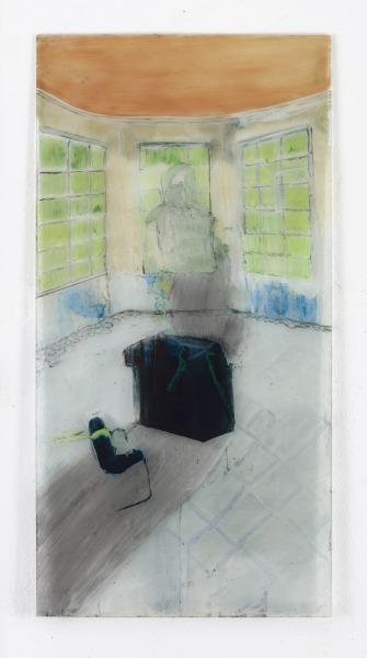 Carralero-Bierzynska-Heilstätte-Grabowsee-IV-2021-Öl-und-Pigmenten-hinter-Glas-125-x-625-cm